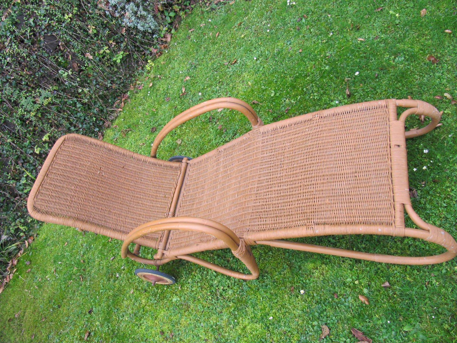chaise longue de jardin vintage en rotin par erich. Black Bedroom Furniture Sets. Home Design Ideas
