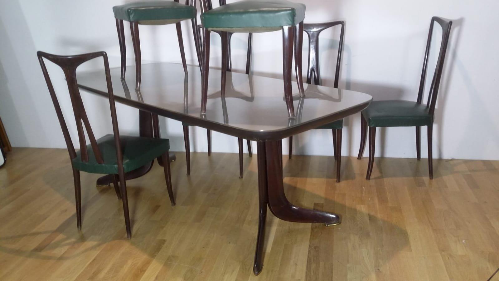 esstisch und 6 st hle 1950er bei pamono kaufen. Black Bedroom Furniture Sets. Home Design Ideas