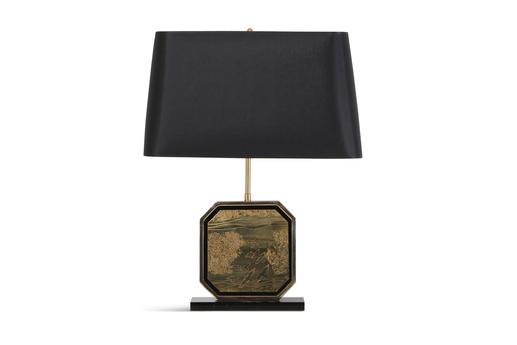 Tischlampe aus vergoldetem Messing im Hollywood Regency-Stil von Maho,...