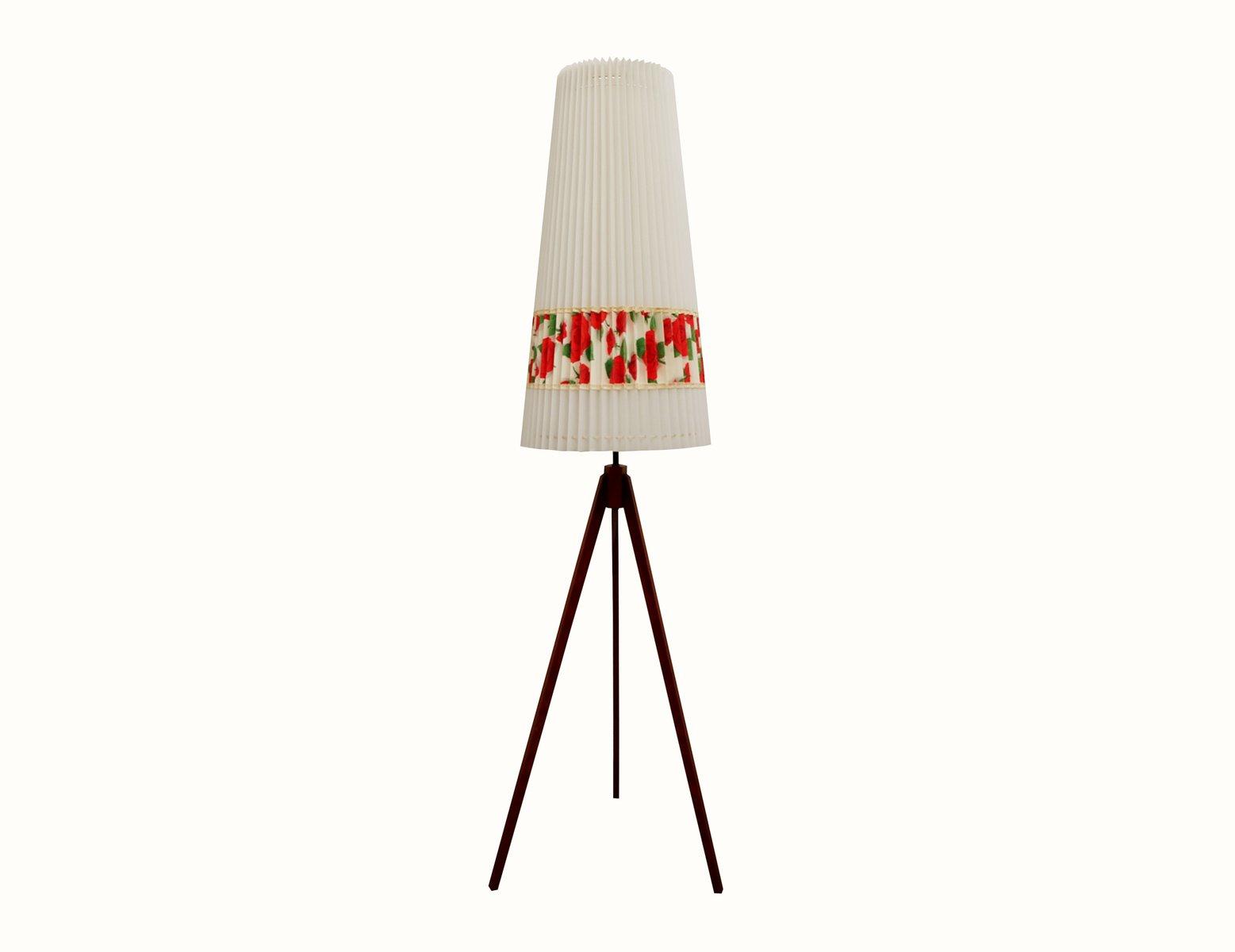 Dreibeinige Stehlampe aus Teak mit Rosenmotiven, 1950er