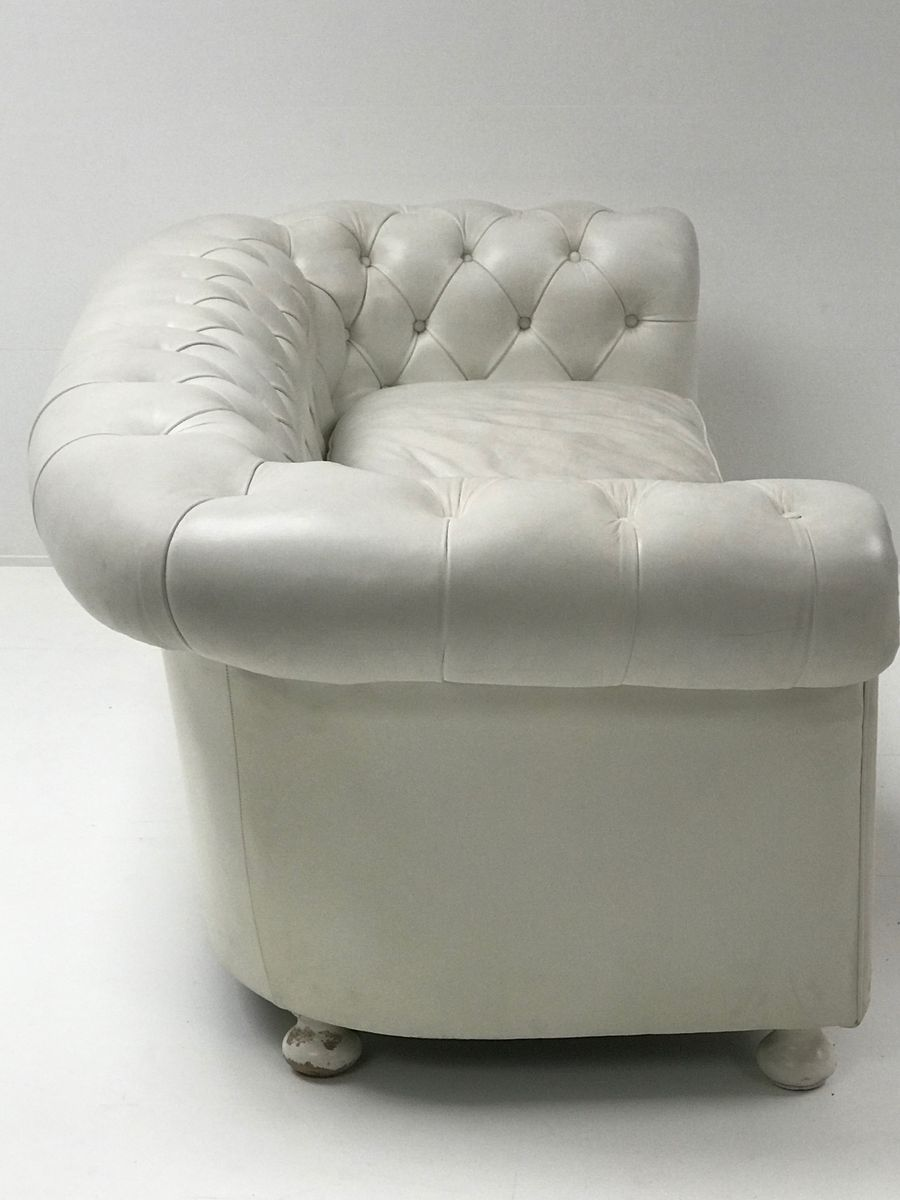 Vintage White Leather Chesterfield Sofa 1980s For Sale At