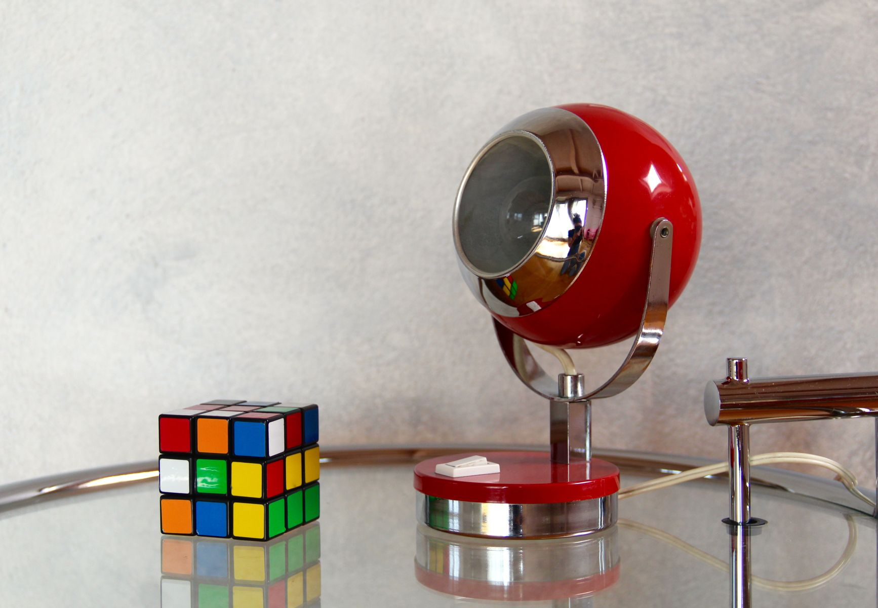 Rote Space Age Tischlampe, 1960er