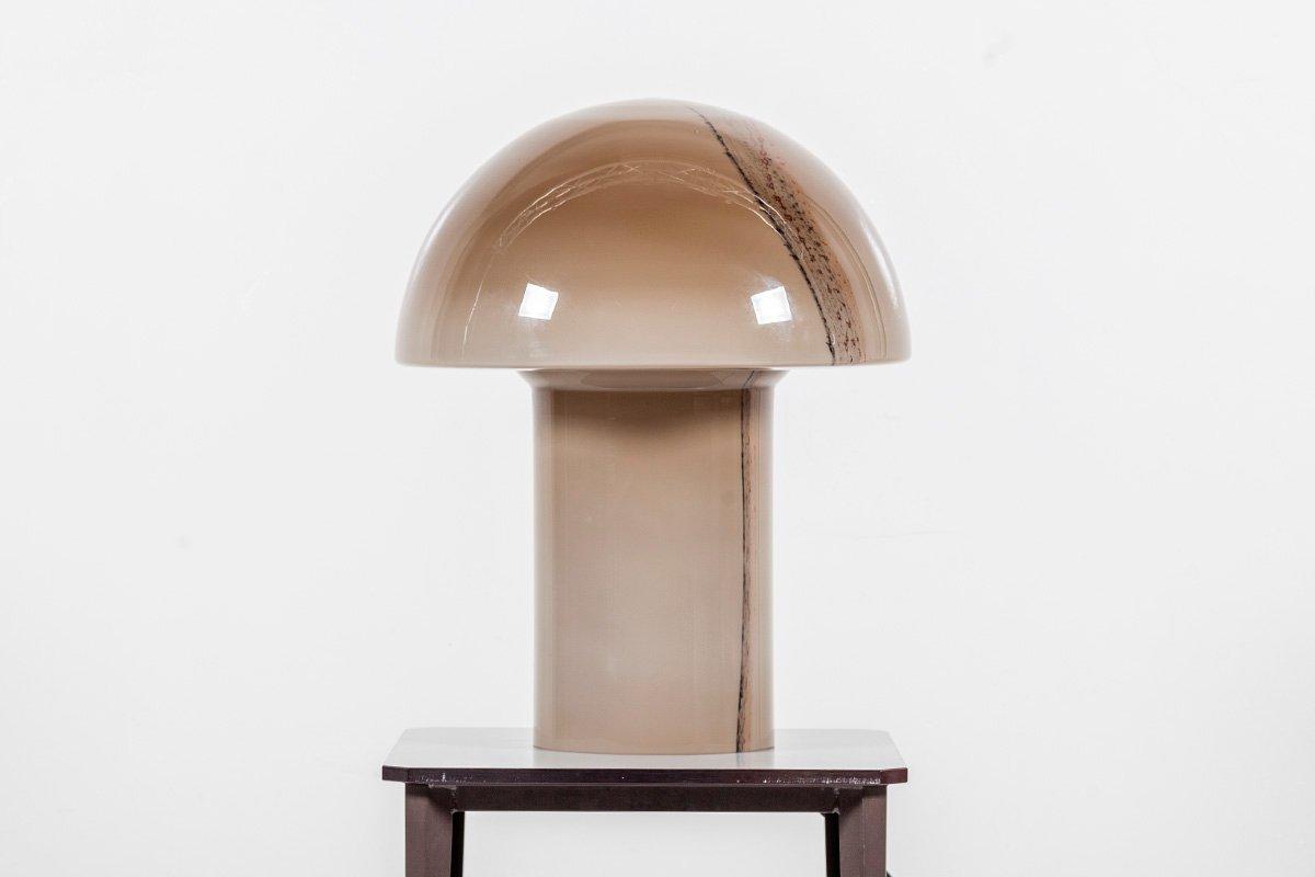 Große Cirrus Tischlampe aus Glas in Pilz-Optik von Peill & Putzler, 19...