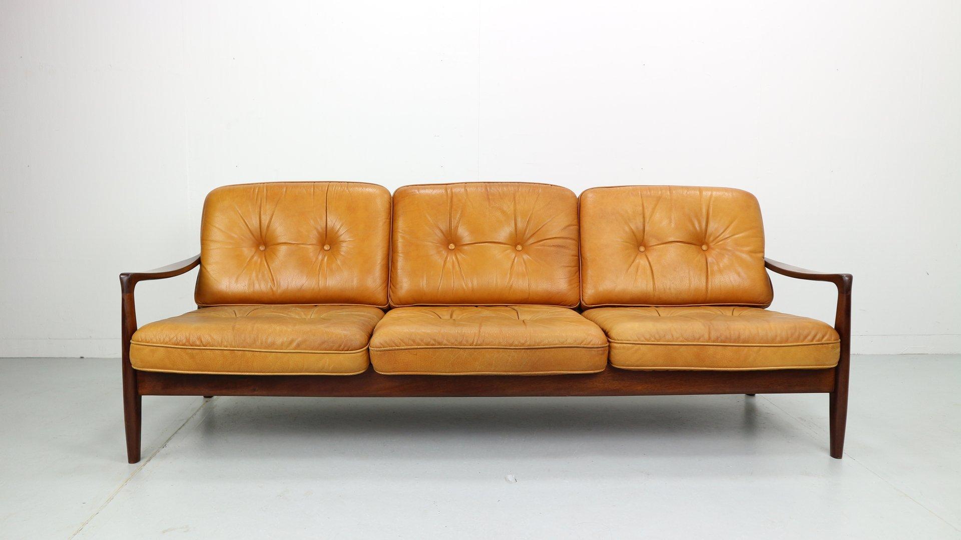 cognacfarbenes vintage 3 sitzer sofa aus leder 1960er haustechnik thiel. Black Bedroom Furniture Sets. Home Design Ideas