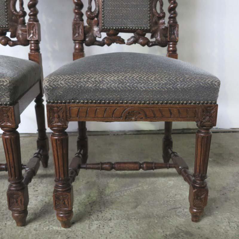 Sedie antiche in legno intagliato, fine XIX secolo, set di ...