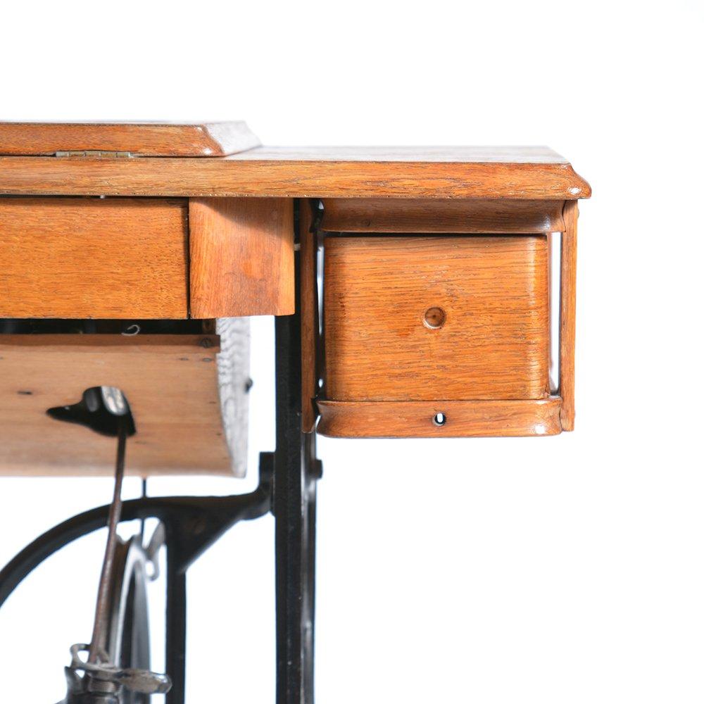 antique german sewing machine table from singer 1908. Black Bedroom Furniture Sets. Home Design Ideas