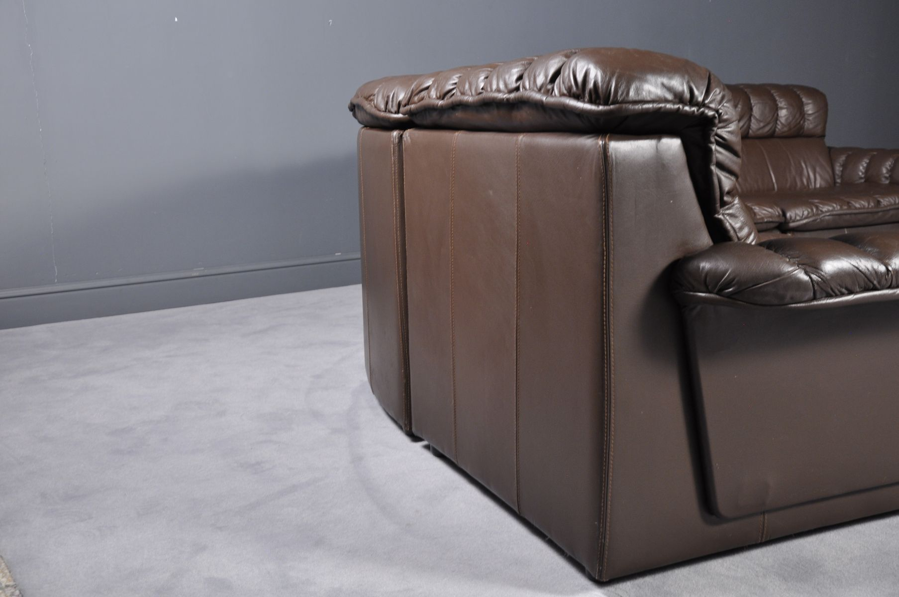 Vintage Modular Brown Leather Sofa And Armchair 1980s For