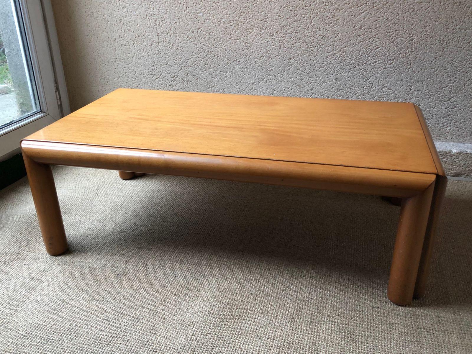 Grande Table Basse Mid Century Scandinave En Merisier 1960s En