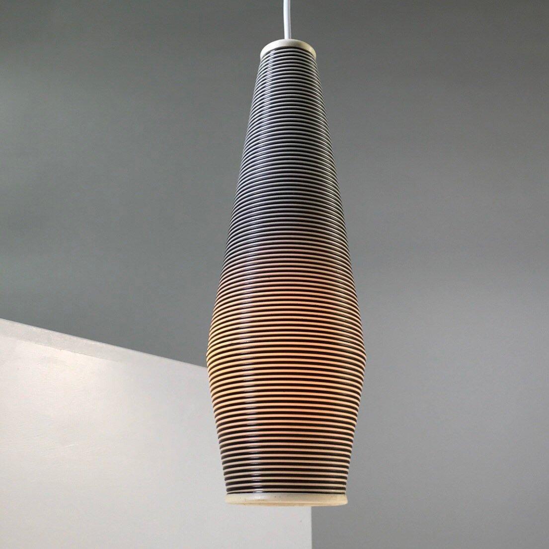 Blau & weiß gestreifte Mid-Century Deckenlampe von Yasha Heifetz für R...