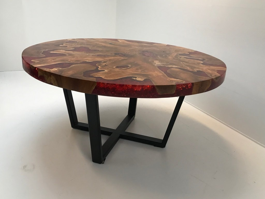 Modernist Round Wood Amp Resin Table With Iron Base 2000s