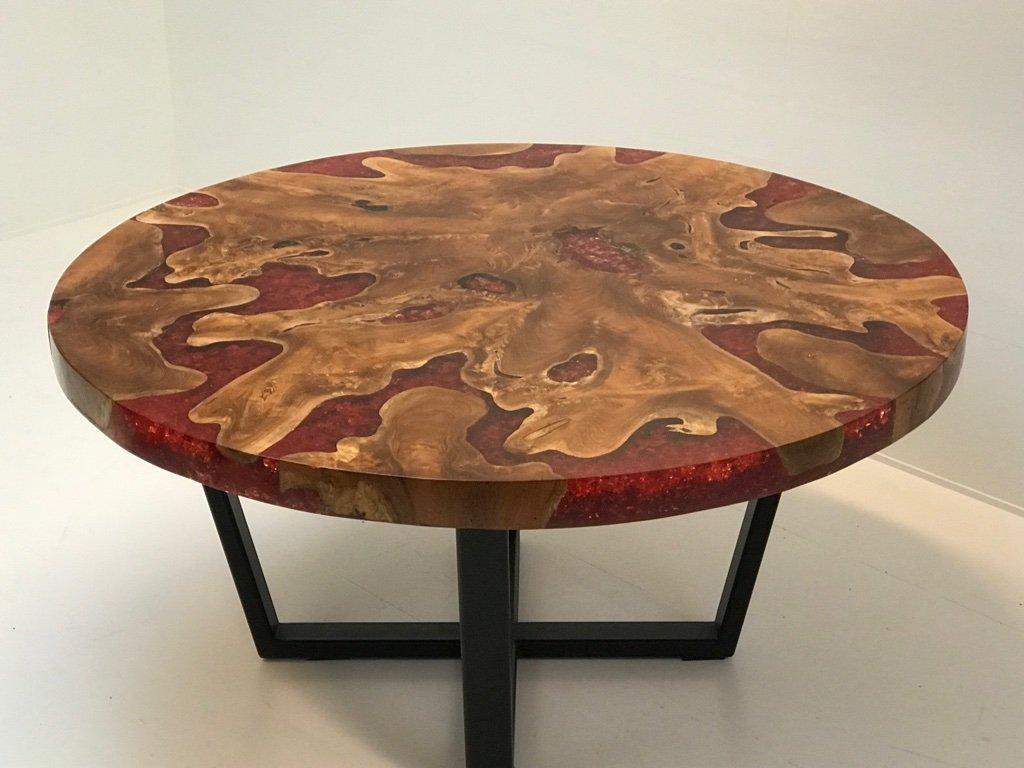 Moderner runder tisch mit platte aus holz harz gestell for Runder tisch mit marmorplatte