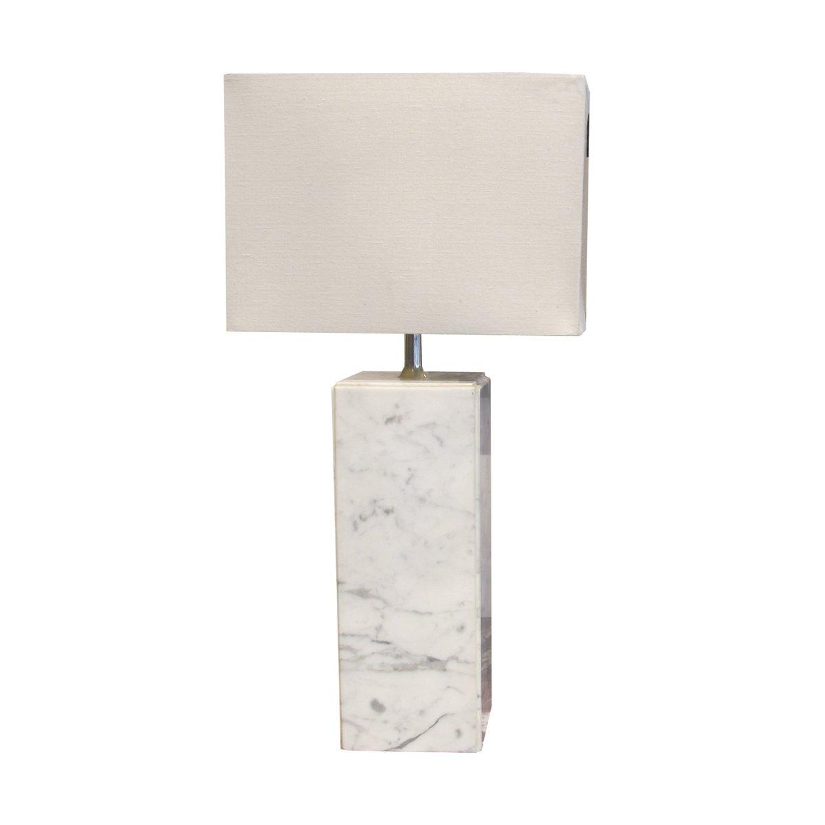Italienische Mid-Century Tischlampen aus weißem Marmor, 2er Set