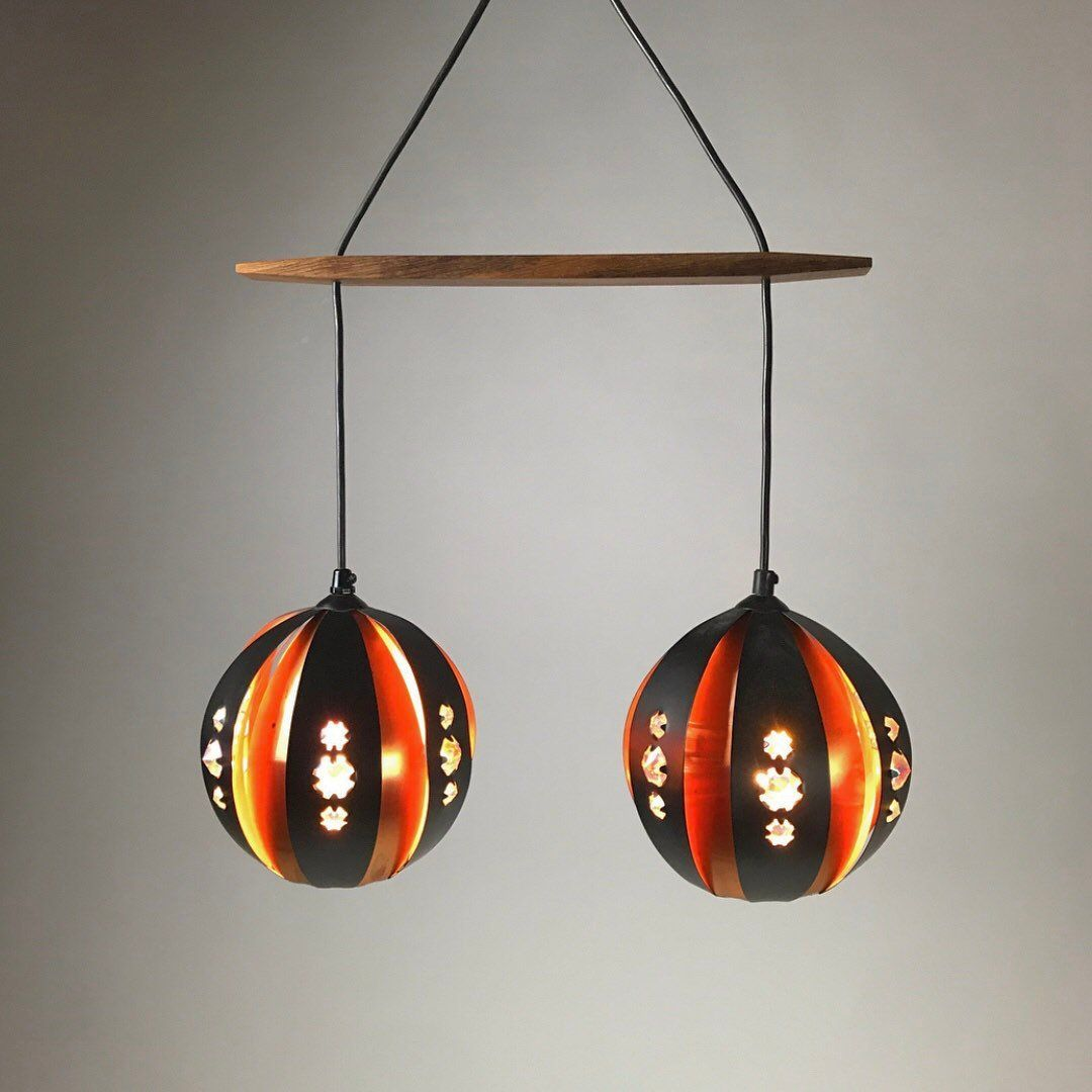 Danish Copper Ceiling Light by Werner Schou for Coronell Elektro, 1960...