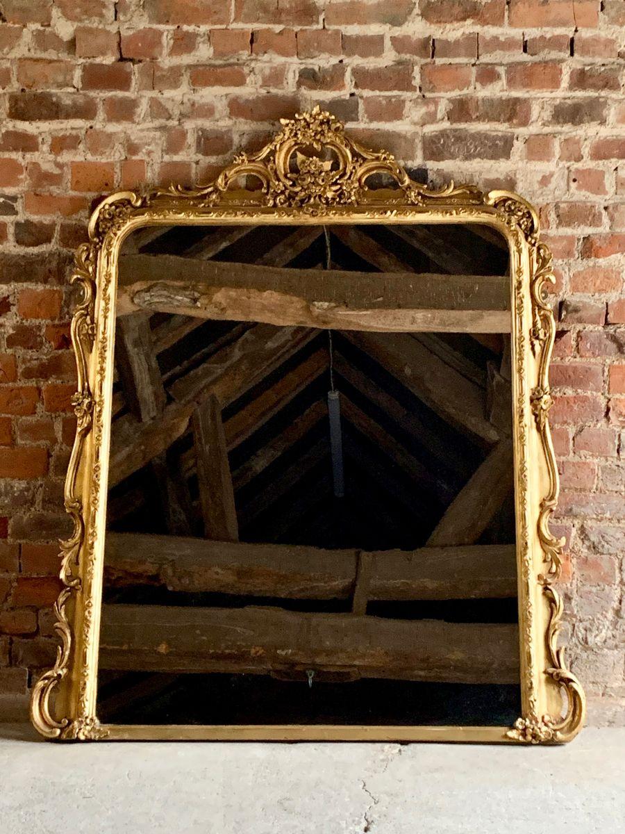 Miroir de chemin e louis xv antique en bois dor france - Miroir de cheminee ...