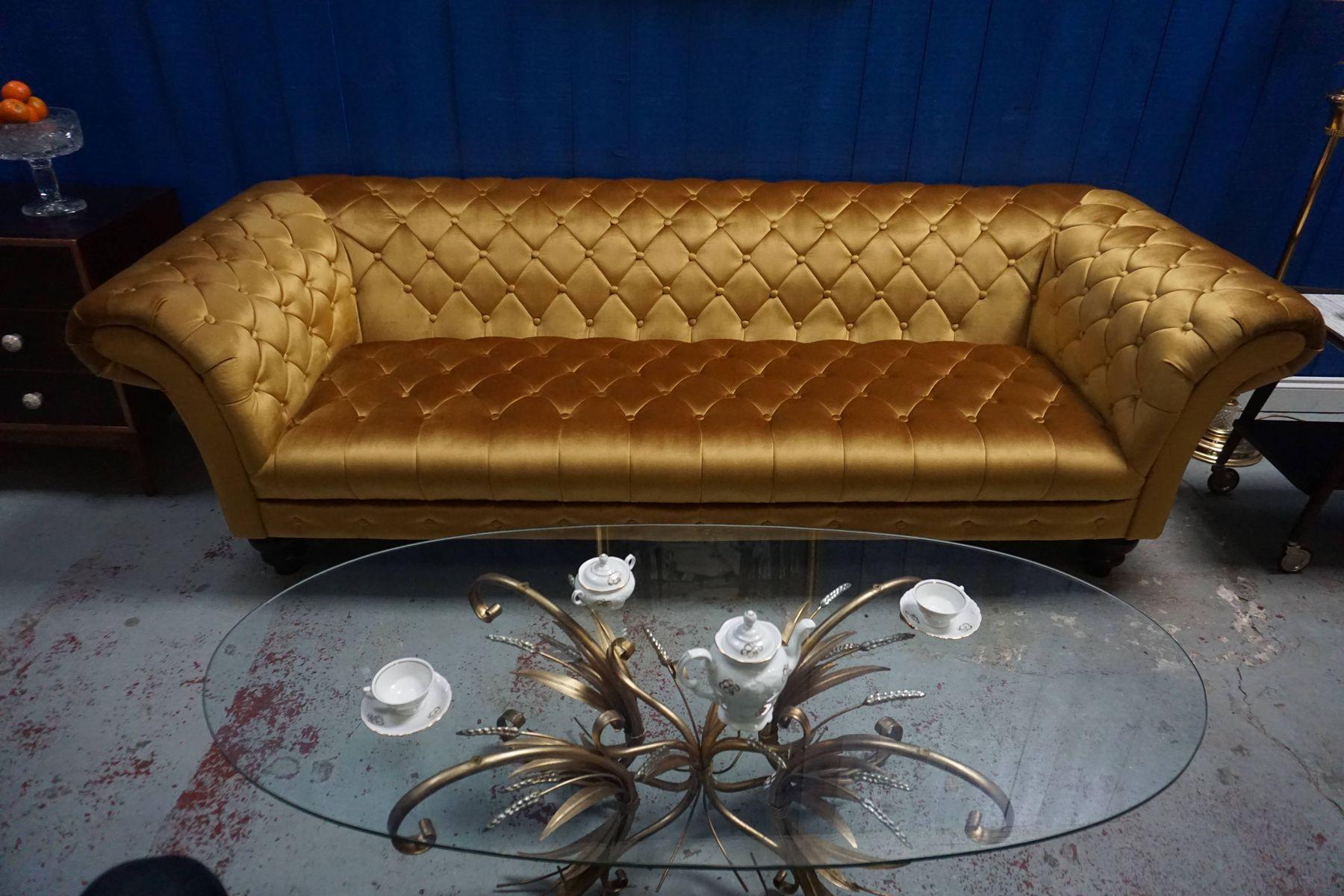Mid Century Gold Velvet Chesterfield Sofa 1960s For Sale