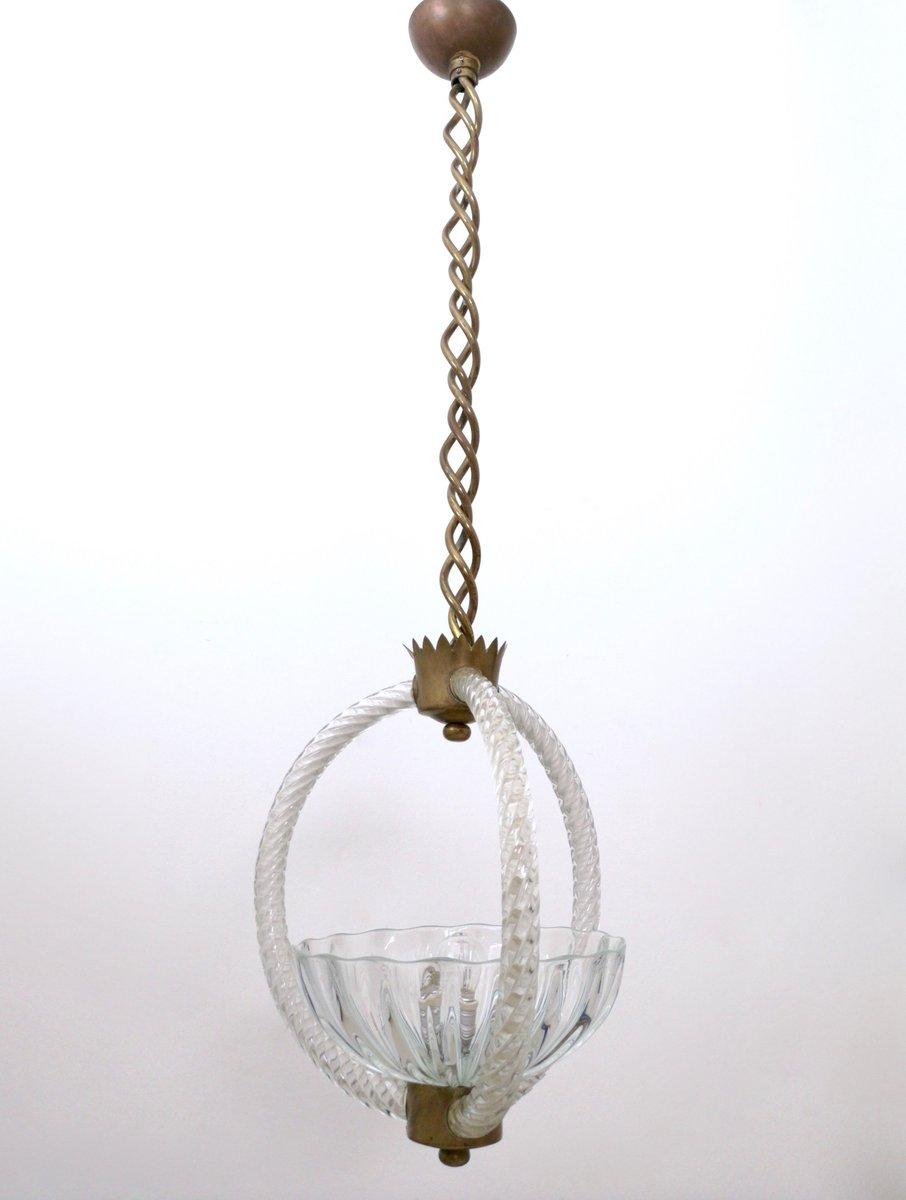 Vintage Hängelampe aus Messing & geblasenem Glas von Ercole Barovier, ...