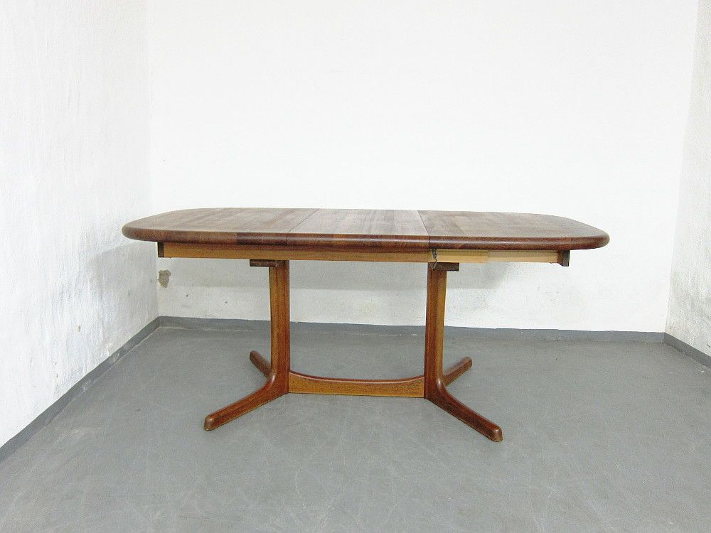 grande table de salle manger rallonge en teck 1970s en vente sur pamono. Black Bedroom Furniture Sets. Home Design Ideas
