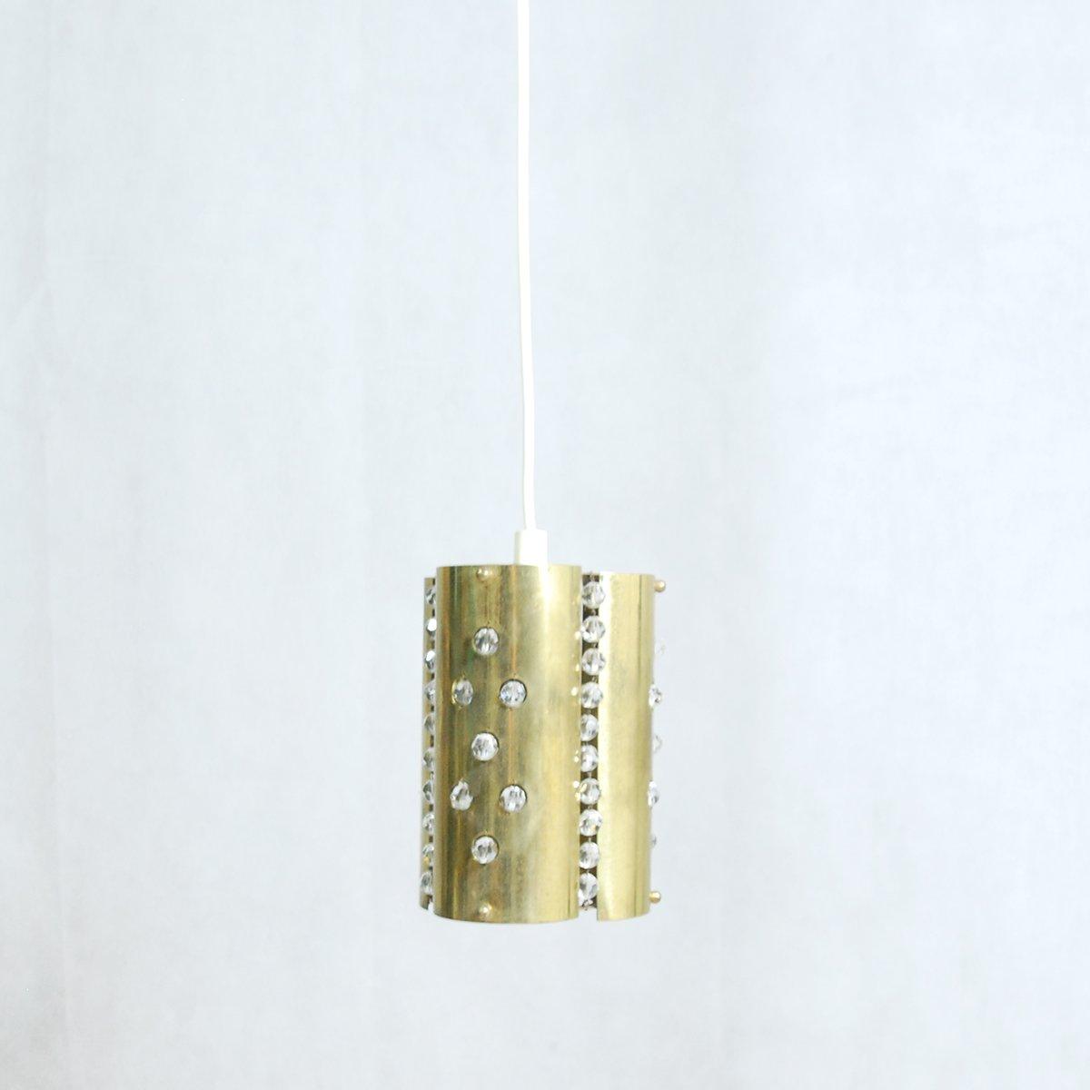 Hängelampe aus Messing mit Elementen aus Kristallglas, 1970er