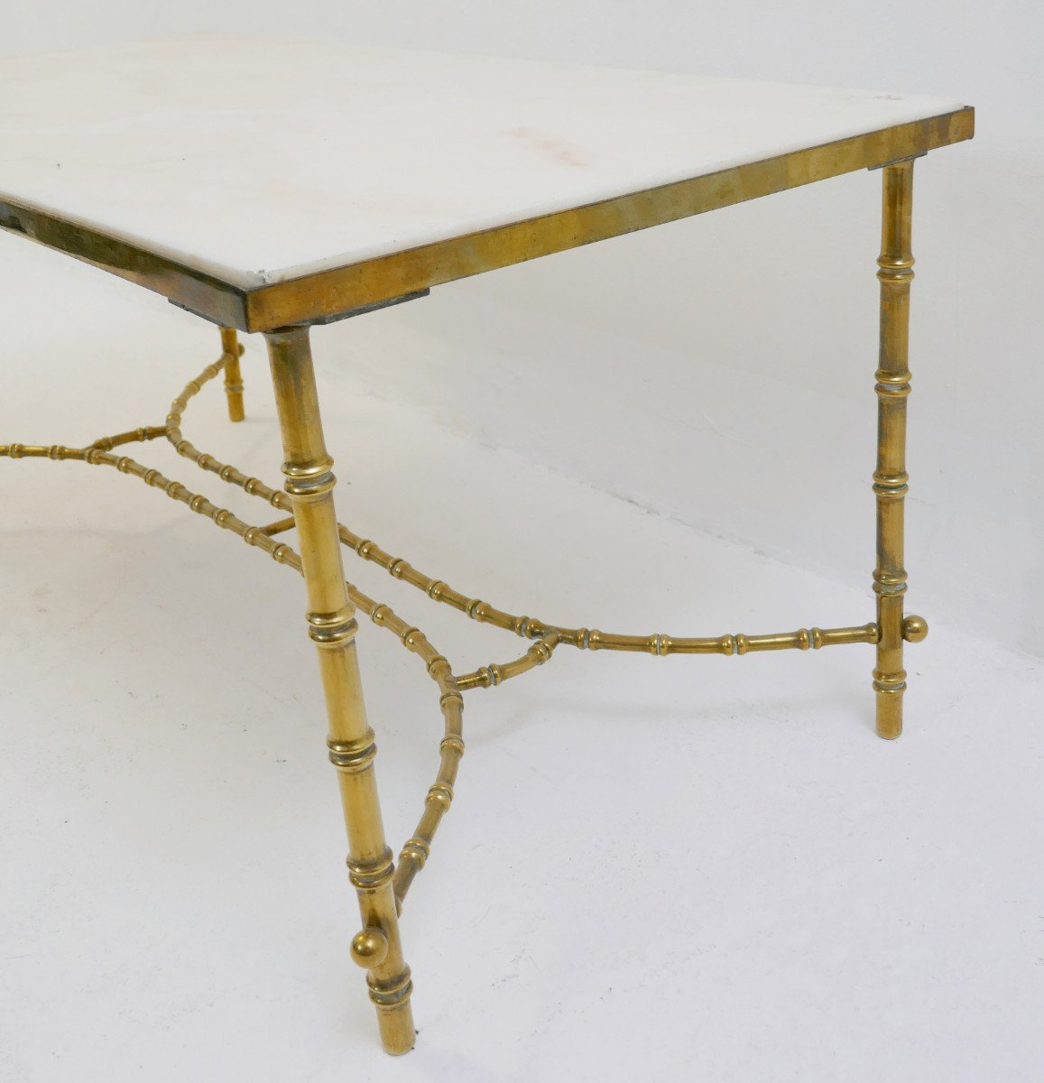 Brass Faux Bamboo Coffee Table: Vintage Brass Faux Bamboo Coffee Table, 1970s For Sale At