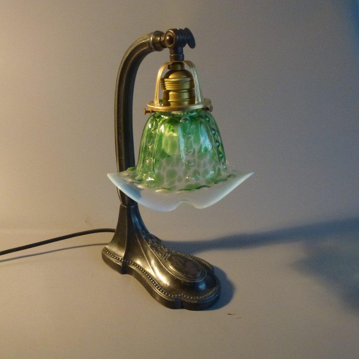 Grüne Jugendstil Tischlampe, 1900er