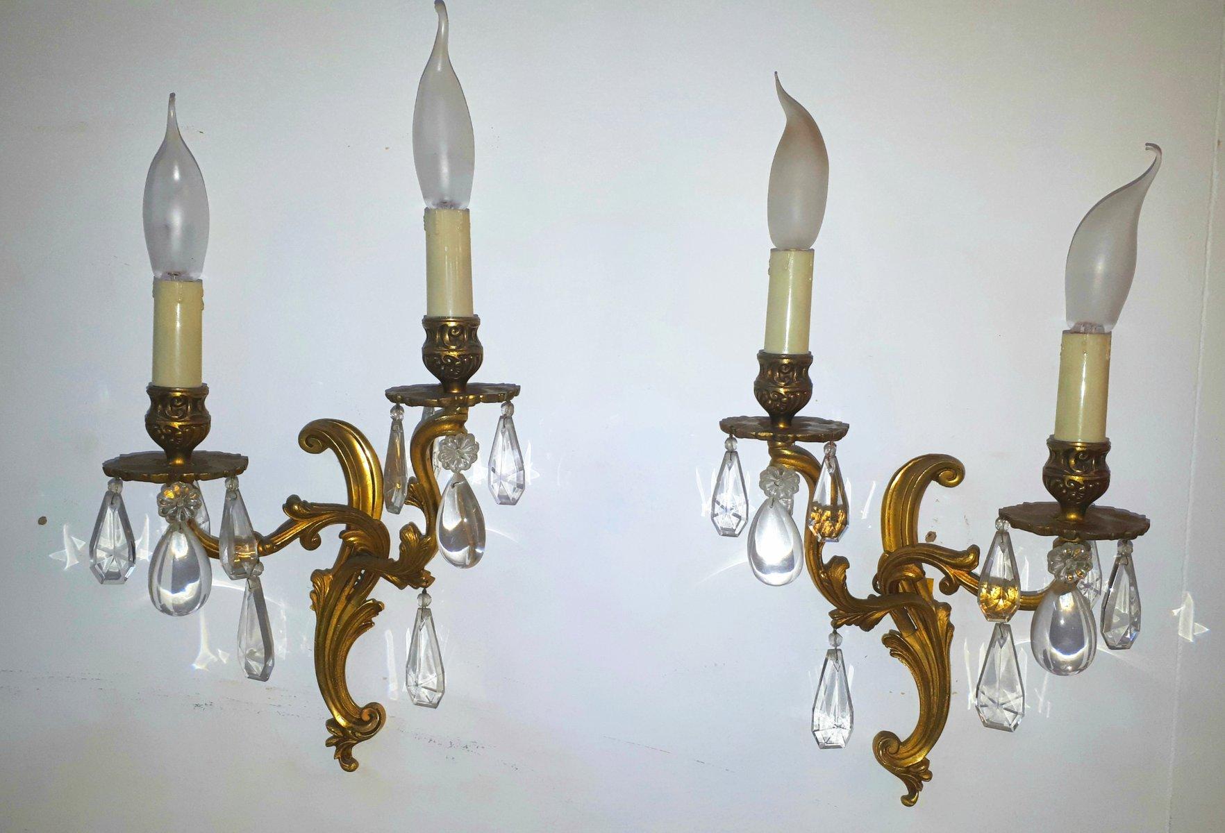 Wandlampen mit Glastropfen, 1950er, 2er Set