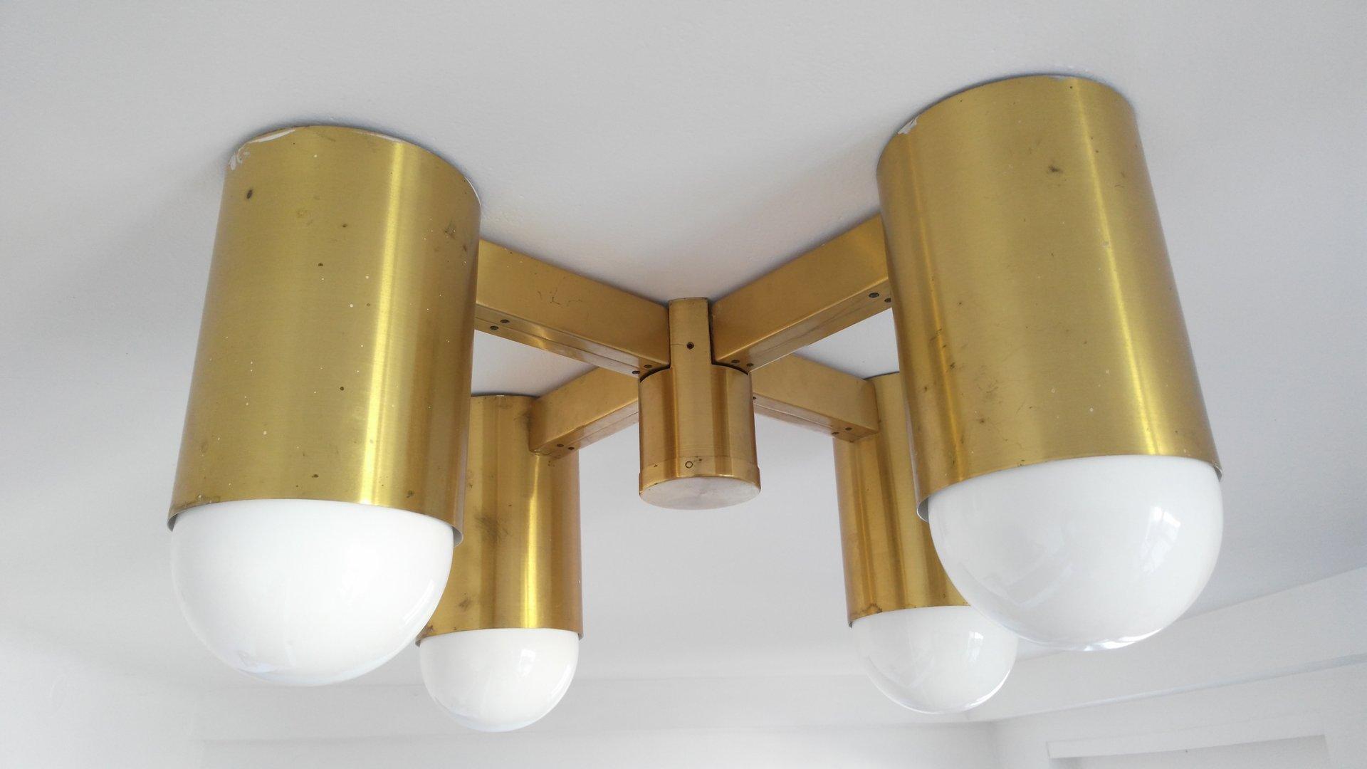 Große industrielle Vintage Deckenlampe aus Messing, 1970er
