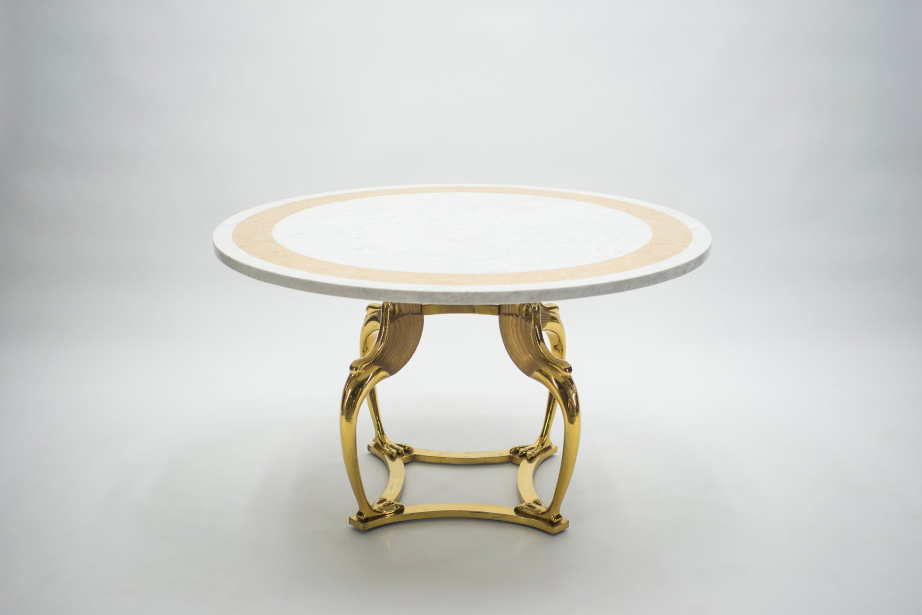 table de salle manger en laiton en marbre par robert thibier 1970s en vente sur pamono. Black Bedroom Furniture Sets. Home Design Ideas