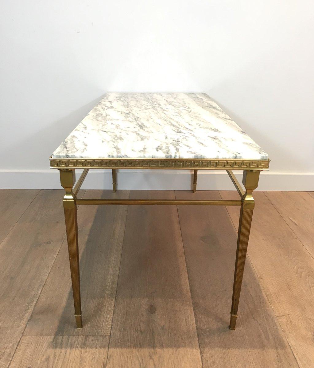 table basse en laiton et marbre avec frise grecque 1940s en vente sur pamono. Black Bedroom Furniture Sets. Home Design Ideas
