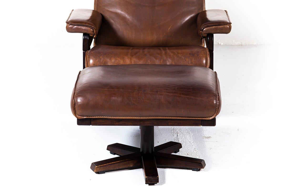 Lounge Swivel Chair Ottoman By Harry De Groot For Leolux 1970s