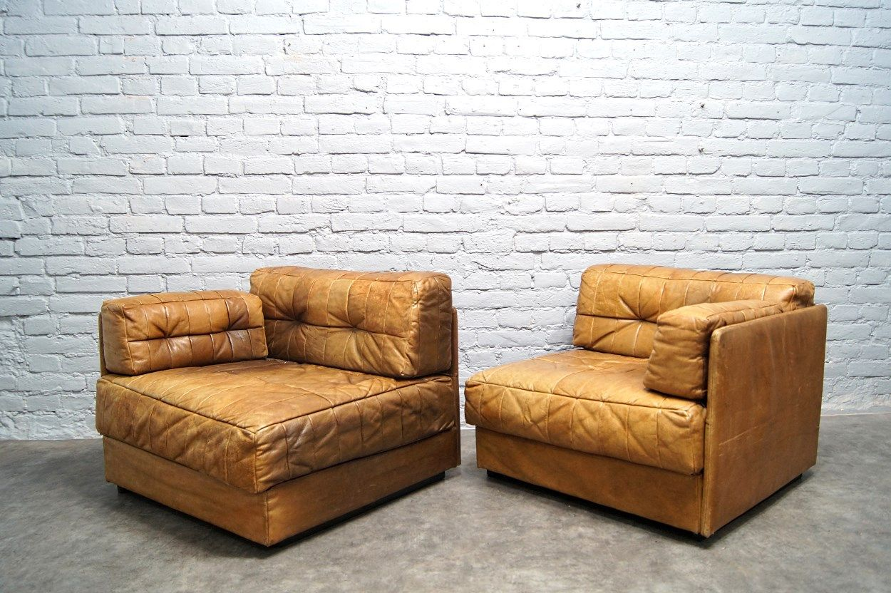 canap modulable en patchwork de cuir cognac 1970s en vente sur pamono. Black Bedroom Furniture Sets. Home Design Ideas