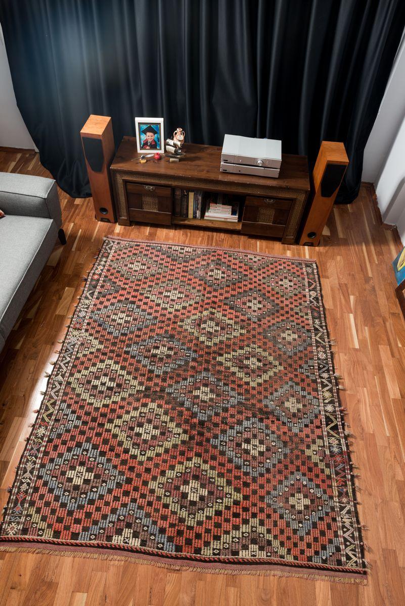 bunter t rkischer vintage boho kilim teppich aus wolle. Black Bedroom Furniture Sets. Home Design Ideas