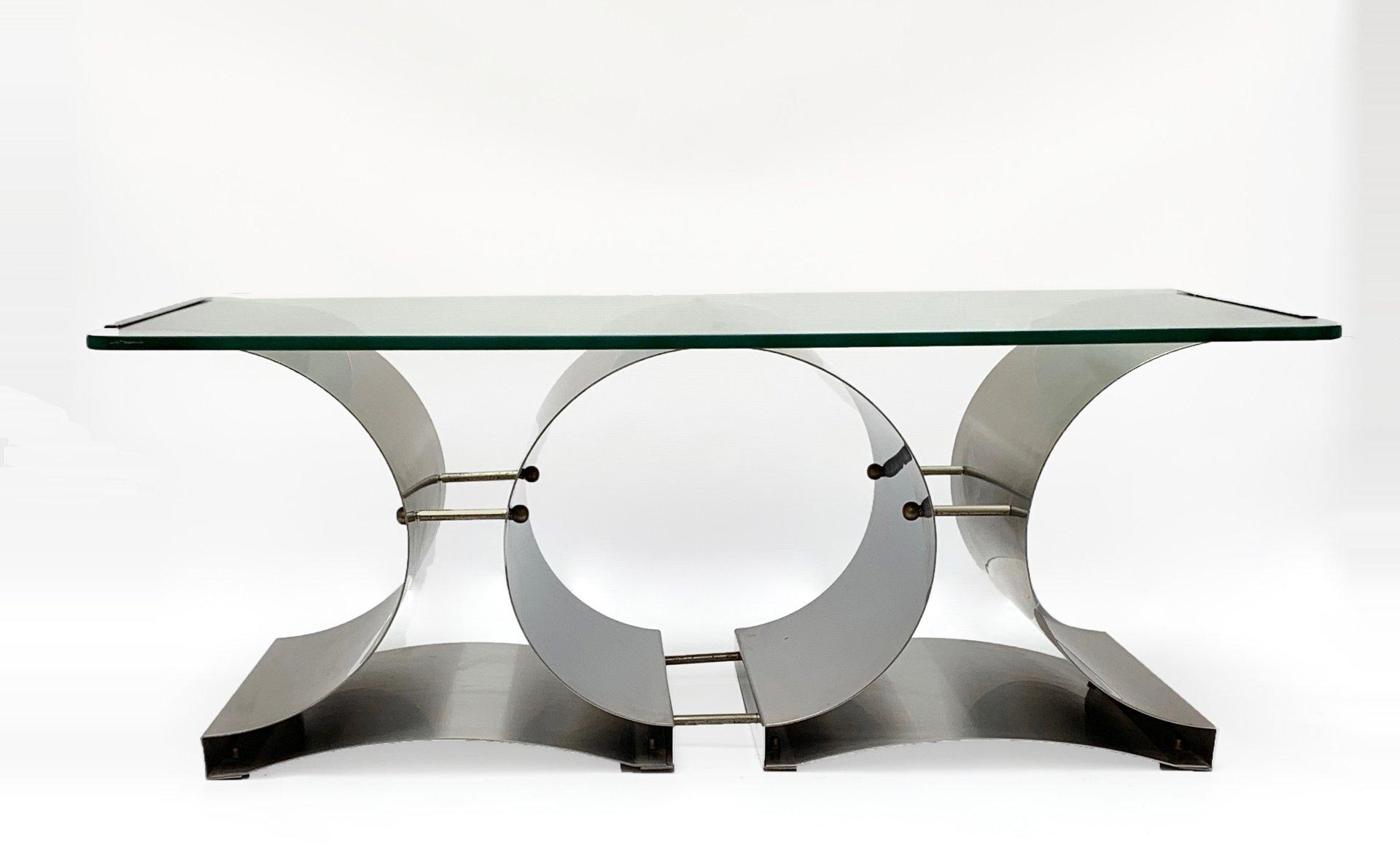 Tavolini In Vetro E Acciaio : Tavolino da caffè mid century in acciaio e vetro di francois