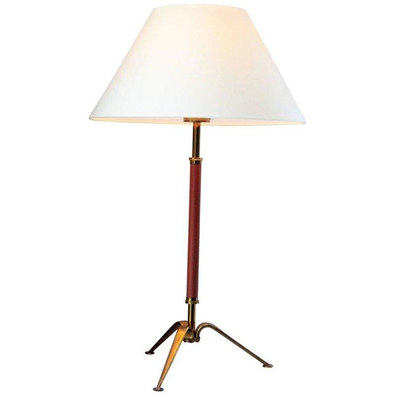 Französische Tischlampe aus Messing & Leder, 1960er