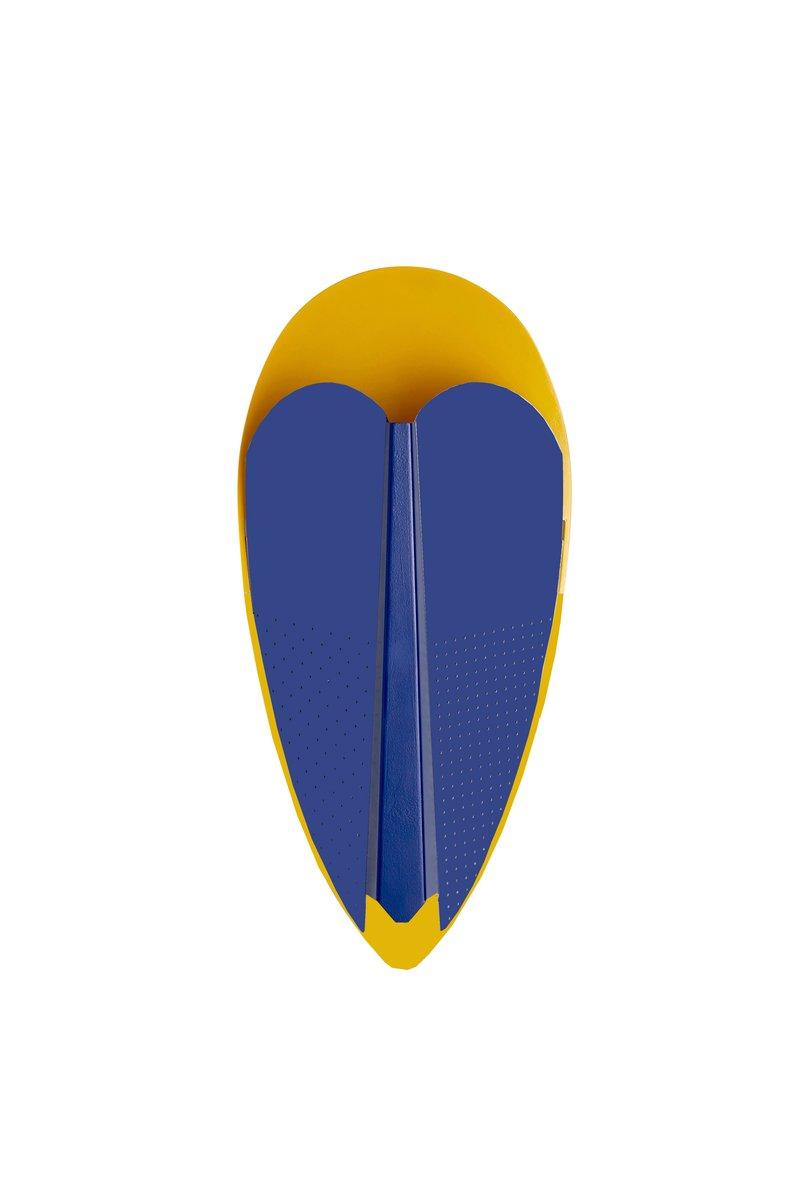 Goldfarbene und blaue Sorcier Lampe von Marta Bakowski für La Chance