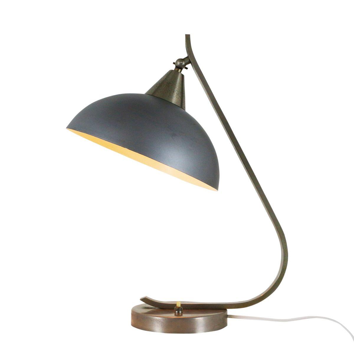 Blau-graue industrielle Tischlampe, 1950er