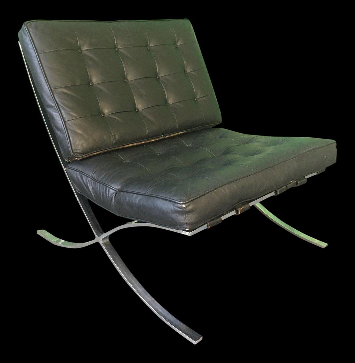 Chaise barcelona en cuir noir par ludwig mies van der rohe 1970s en vente sur pamono - Mies van der rohe chaise ...
