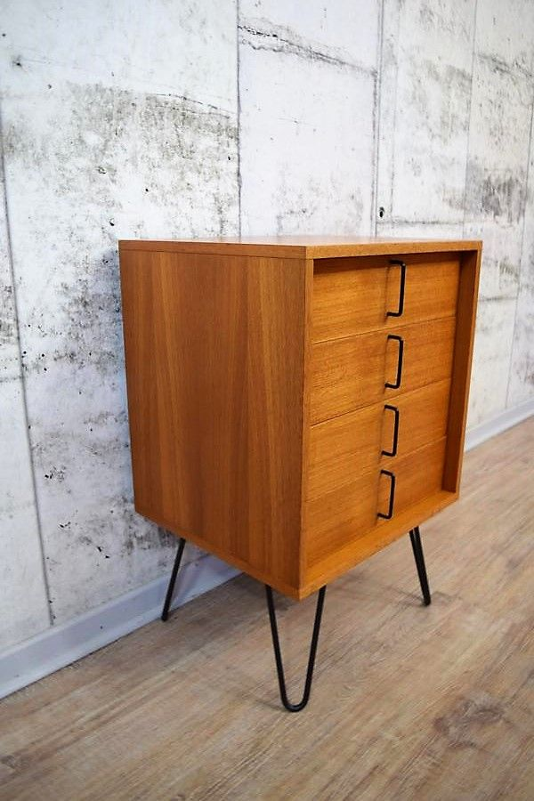 Small Teak Chest Of Drawers With Hairpin Legs From Rego Mobile Möbel