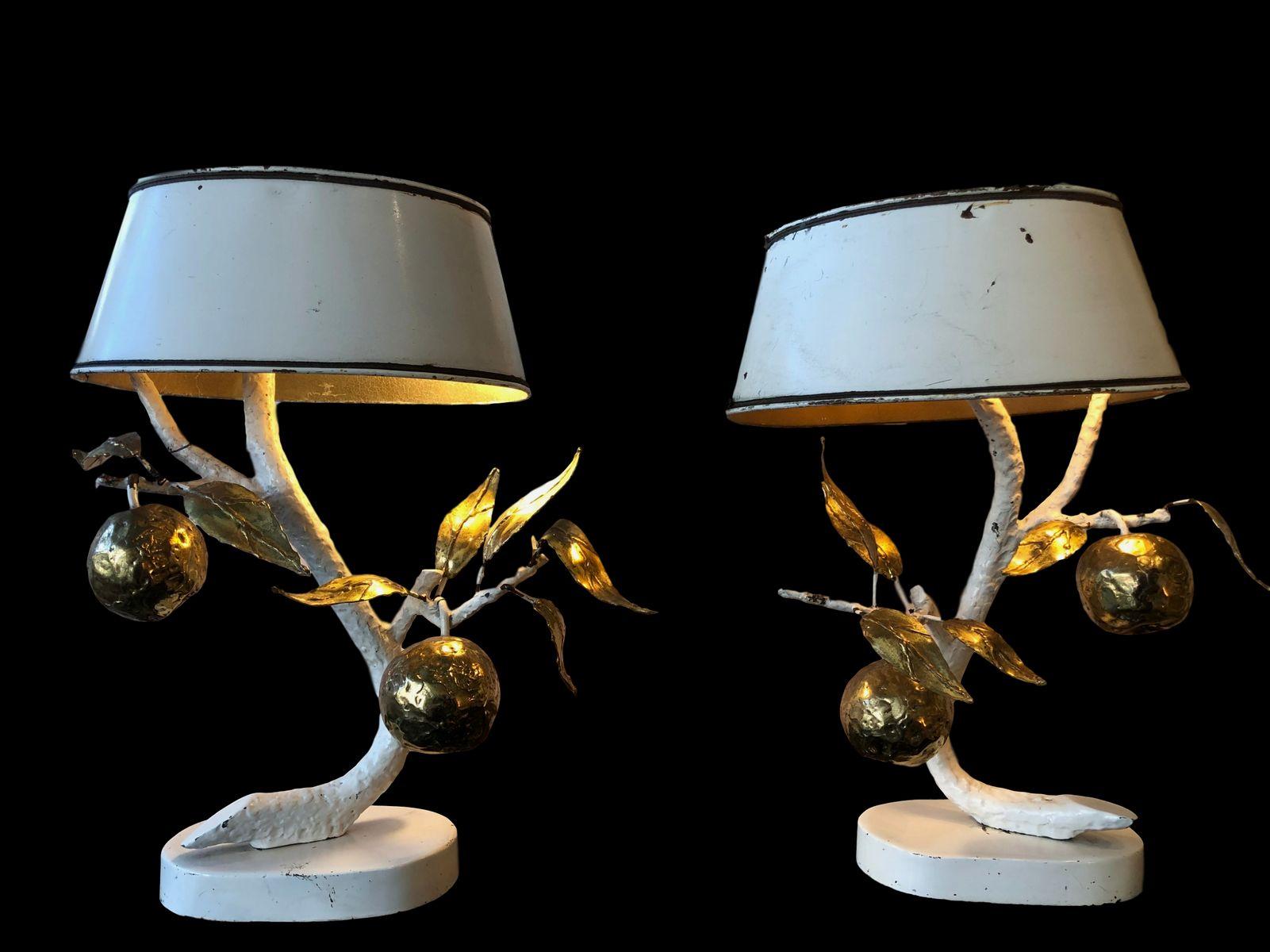 Französische Art Deco Tischlampen, 1920er, 2er Set