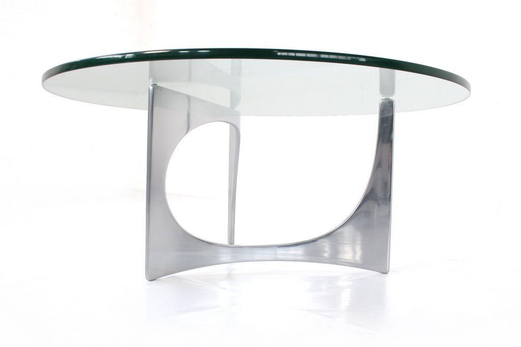 Skulpturaler Couchtisch Aus Aluminium & Glas Von Knut