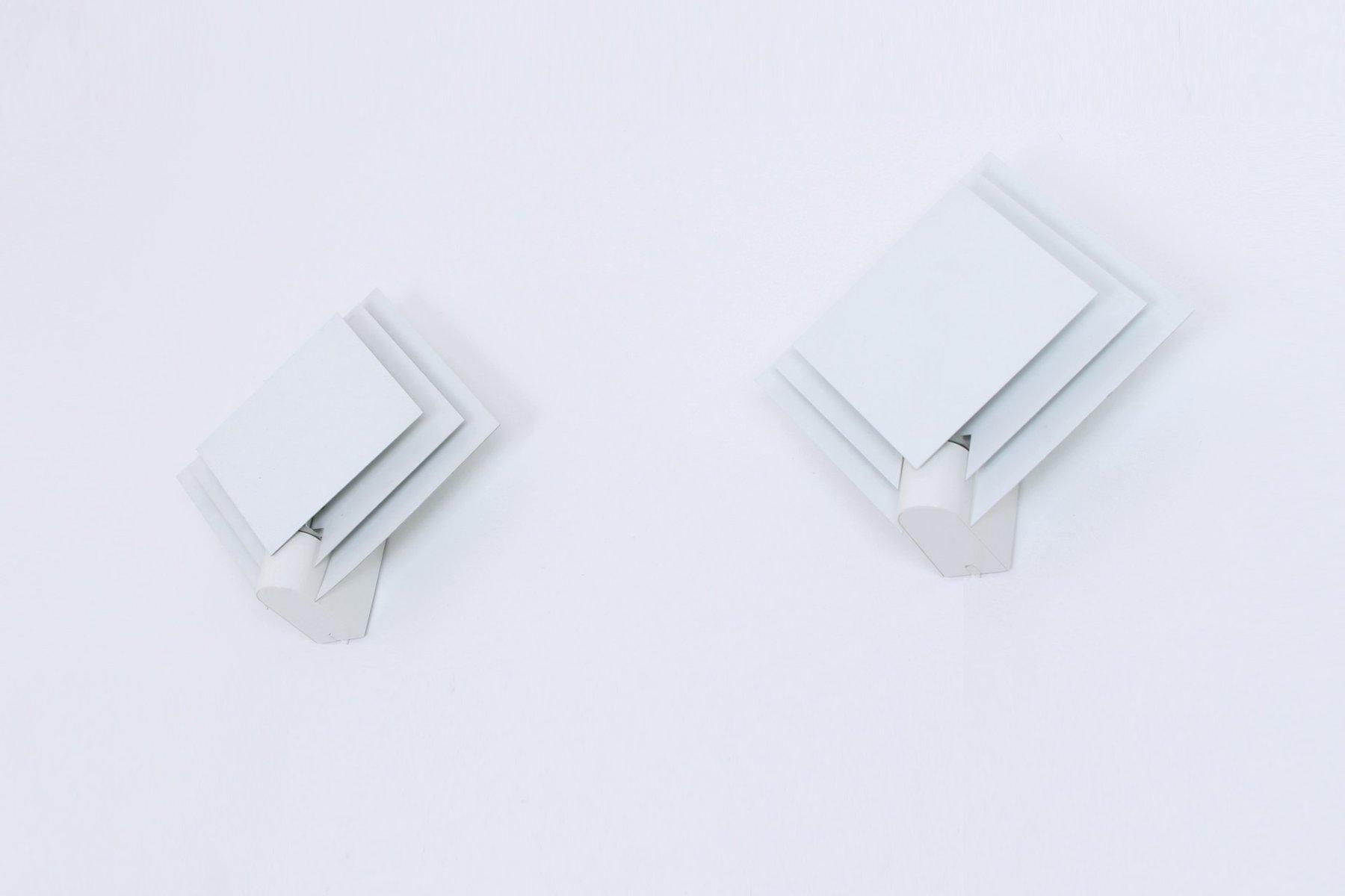 Viereckige weiße Wandleuchten aus Metall von Lumiance, 1980er, 2er Set