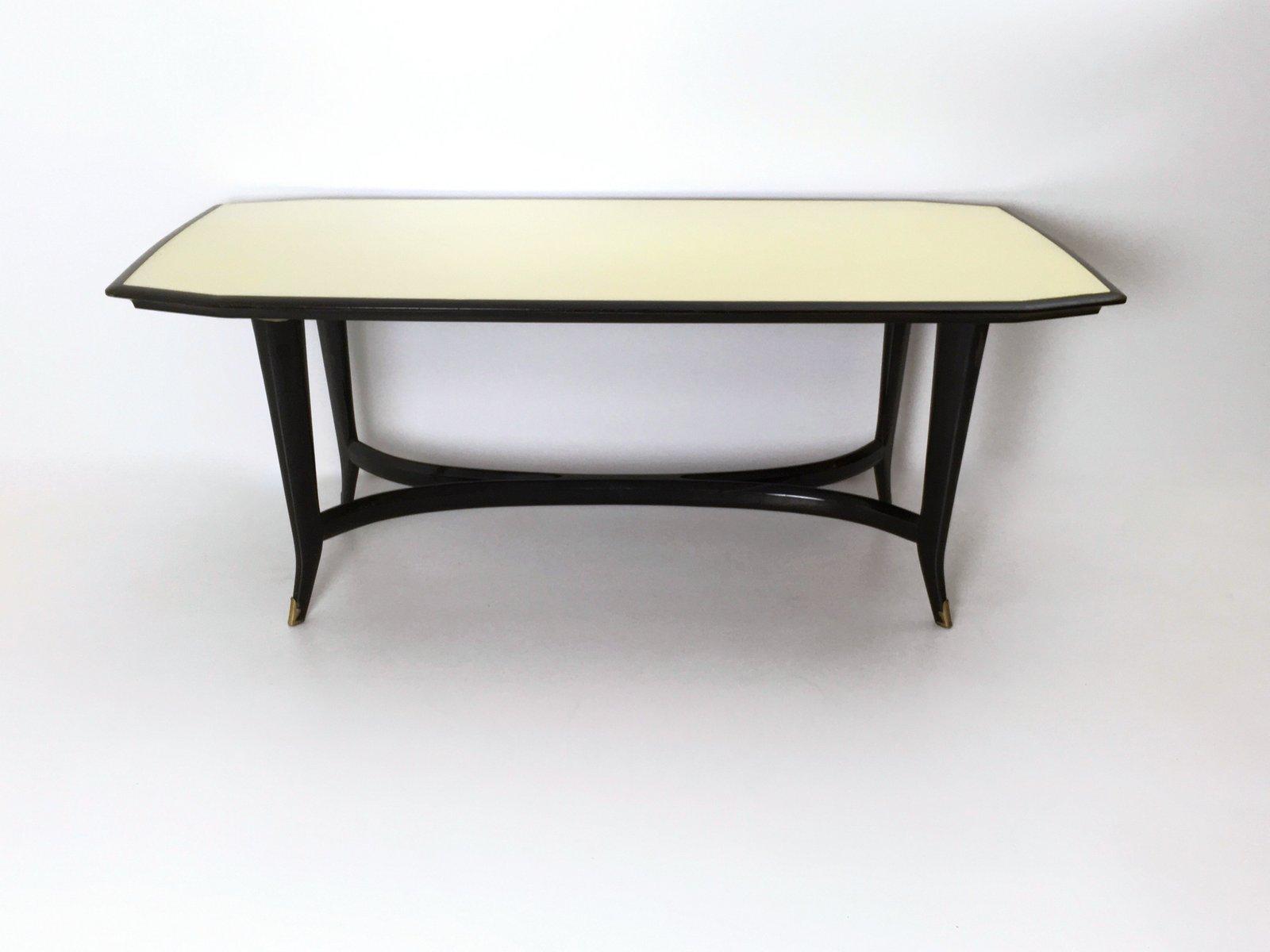 Italienischer Esstisch mit Gestell aus ebonisierter Buche & schwarz la...