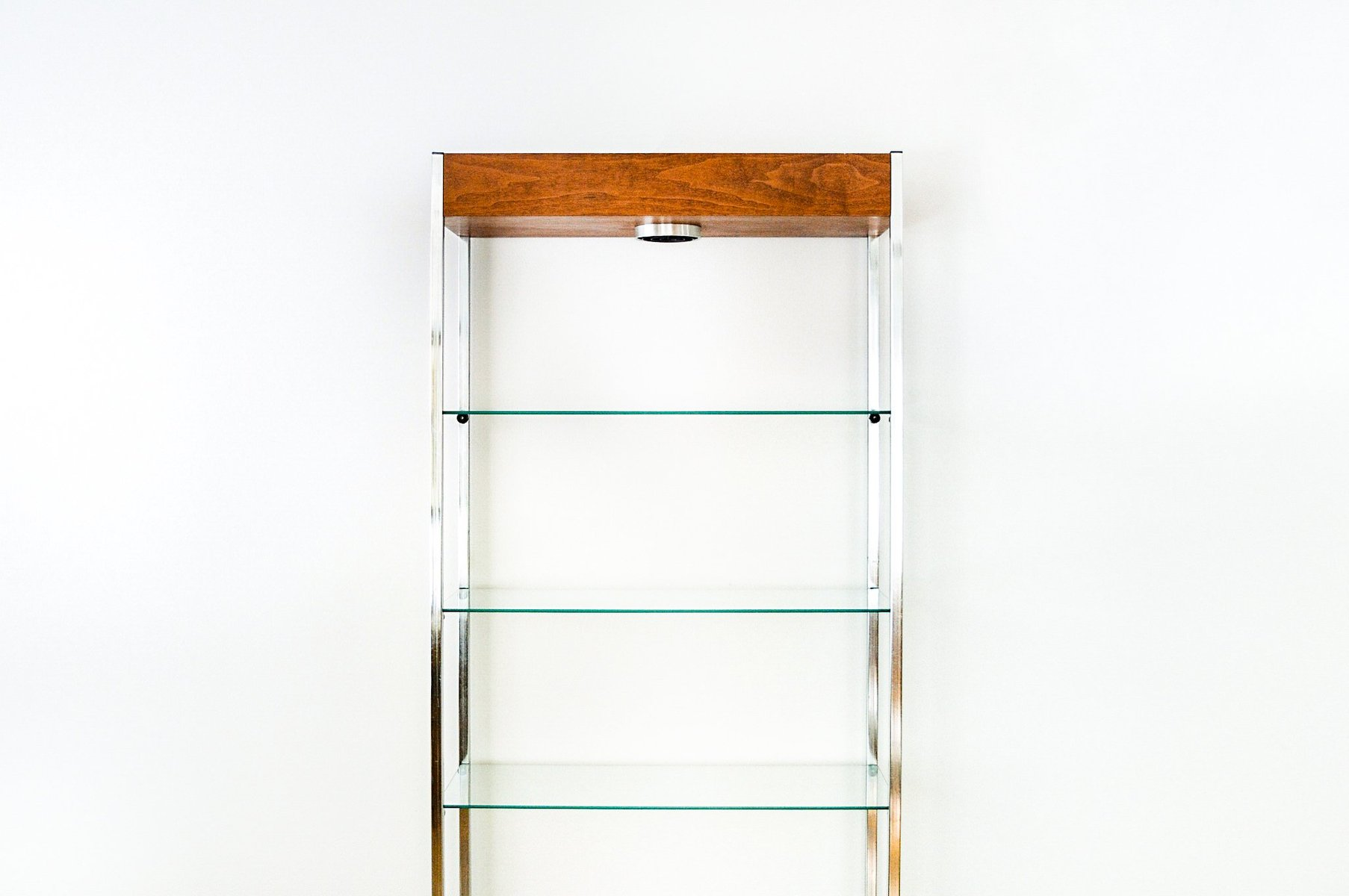Mid Century Glass Wood Bookcase 1960s