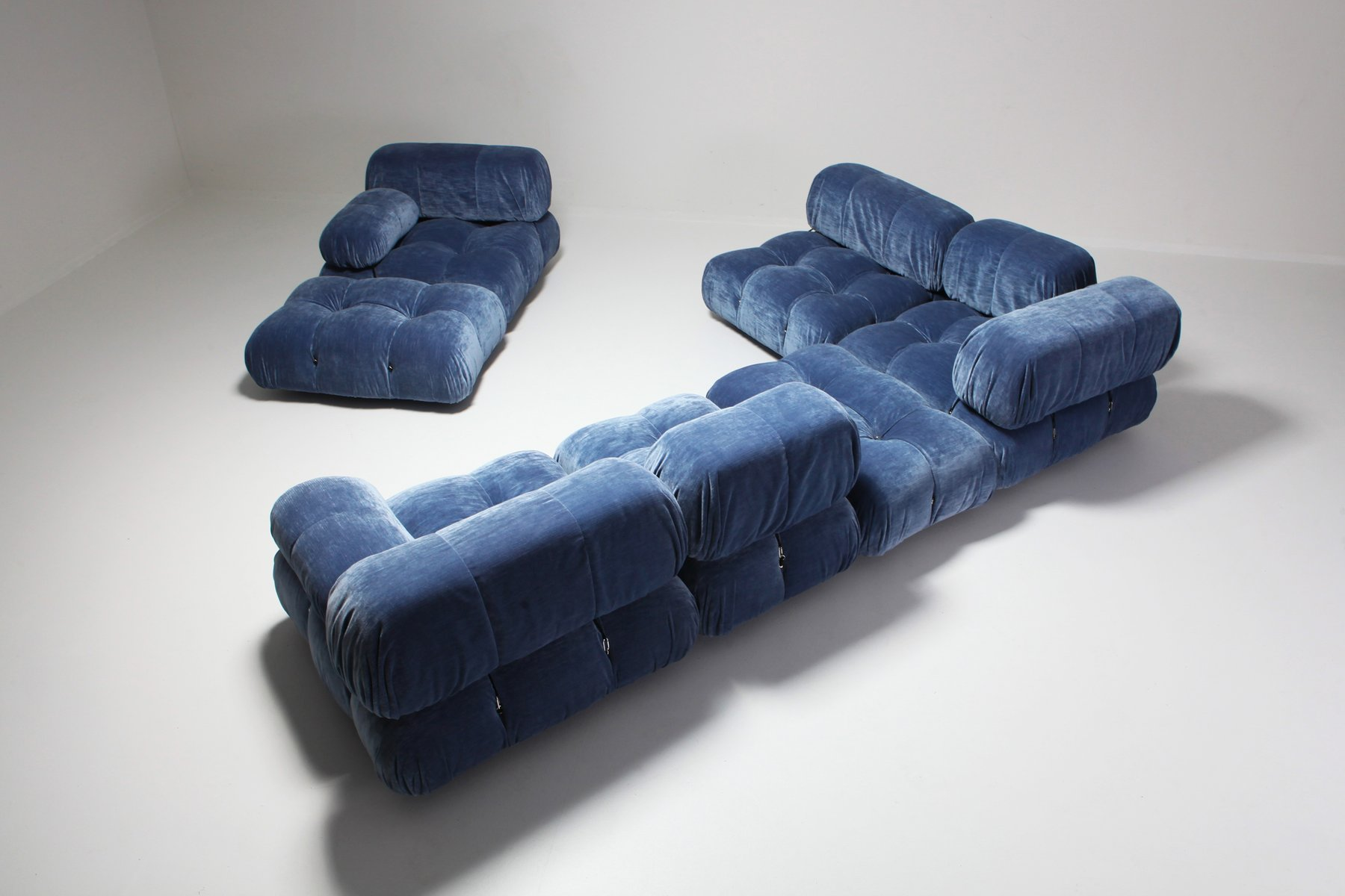Blue Velvet Sectional Camaleonda Sofa By Mario Bellini For