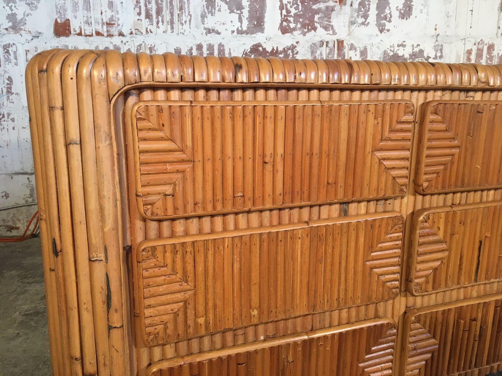 tropische mid century kommode aus gestapeltem rattan bei. Black Bedroom Furniture Sets. Home Design Ideas