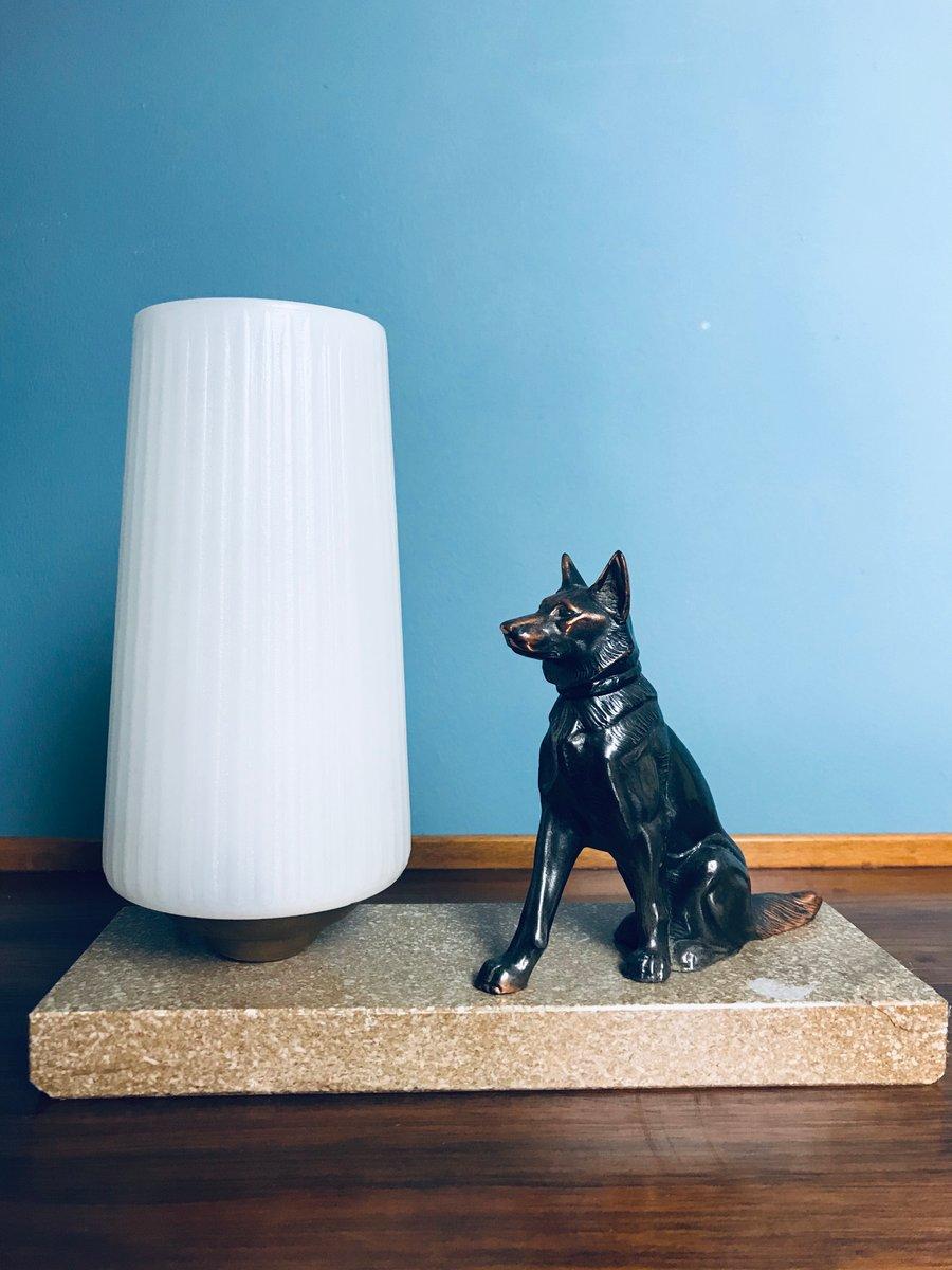 Art Deco Tischlampe mit Deutschem Schäferhund, 1920er