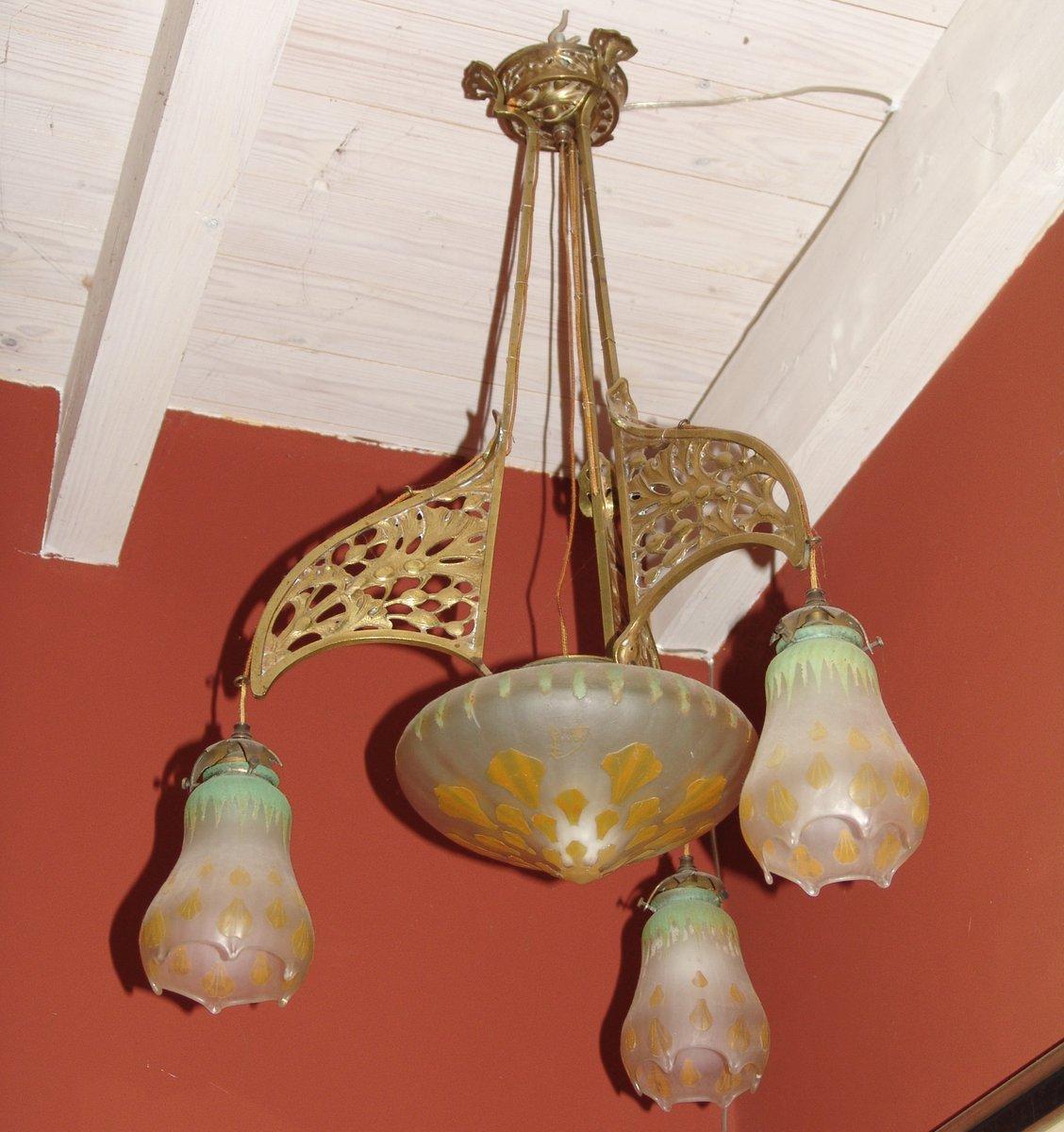 Antike Deckenlampe von Louis Marjorelle für Majorelle & Daum