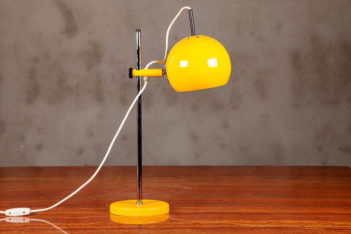 Gelbe Vintage Tischlampe von Starlux