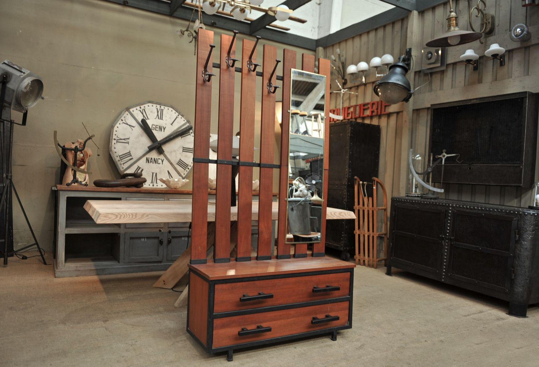 gro e garderobe aus mahagoni metall 1950er bei pamono. Black Bedroom Furniture Sets. Home Design Ideas