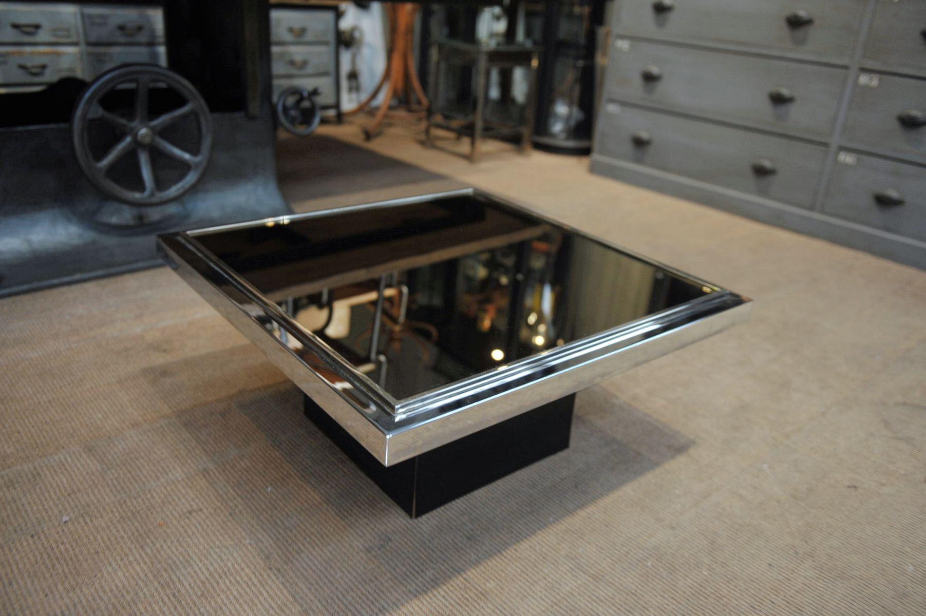 Couchtisch aus verchromtem metall glas holz 1970er bei for Couchtisch metall glas