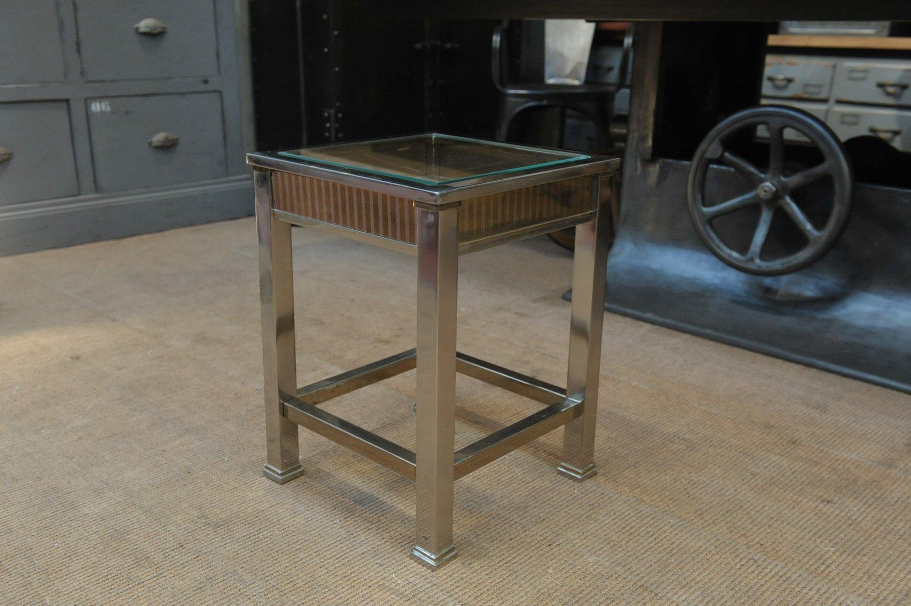 petite table console en m tal chrom en verre 1970s en. Black Bedroom Furniture Sets. Home Design Ideas